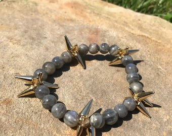 Gray/Blue Beaded Spike Bracelet