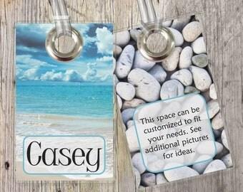 Beach - Ocean - Custom Tags for Backpacks, Luggage, Diaper Bags & More!