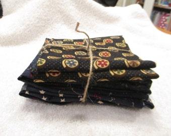 Fat Quarter Bundle with 3 dark blue fat quarters and one dark blue half yard cotton fabrics A9