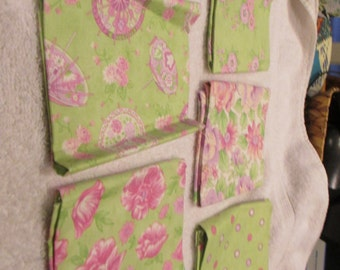 Fat Quarter Bundle with 5 FQs in lime, pink, lavender. white by Moda B4