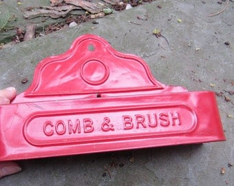 tin comb and brush holder made to hang