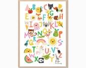 ABC Animal 2.0 Chart Poster : Modern Animal Illustration Retro Art Wall Decor Print
