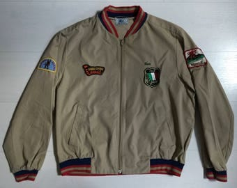 1980s Izod Lacoste Jacket with Patches and a Bi-Swing Back