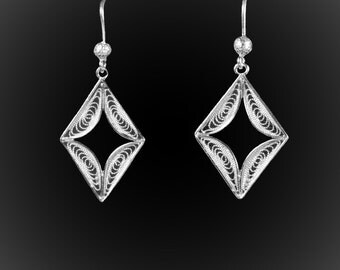 Embroidered silver diamonds earrings