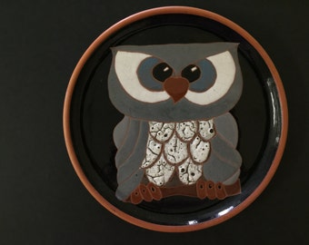 Vintage Ceramic Owl Plate Home Decor