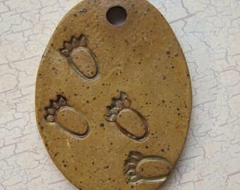 Large Glazed Pottery Pet Cremains Motif Pendant or Ornament - Custom Memorial Pet Cremation Keepsake -  BEAR TRACKS