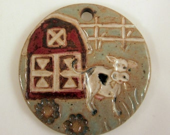 Large Glazed Pottery Pet Cremains Motif Pendant or Ornament - Custom Memorial Pet Cremation Keepsake -  FARM LIFE
