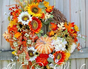 Cheerful Early Autumn Sunflower Wreath, Fall Wreath, Pumpkin Wreath, Fall Floral Decor, Orange Wreath, Thanksgiving Floral Decor, Summer