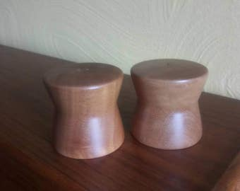 Danish Modern Salt and Pepper Shakers - Myrtlewood - 1960s - Hand turned