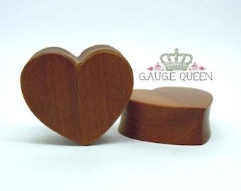 "Cherry Wood Heart Plugs / Gauges. 1/2"" / 12.5mm, 9/16"" / 14mm, 5/8"" / 16mm, 7/8"" / 22mm, 1"" / 25mm"