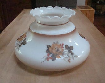 """Large Vintage Gone With The Wind Style Milk Glass Table Lamp /  Floral Lamp Shade 9 3/4"""" Fitter"""