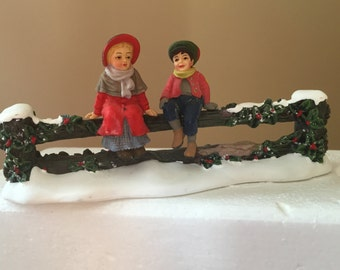 Department 56 Holly Split Rail Fence With Seated Children