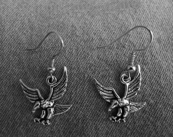Beautiful pair of Silver Earrings with Eagle and Hypoallergenic Surgical Steel Ear Wires