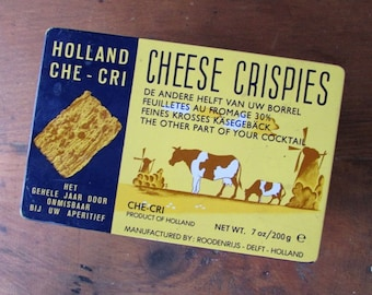 Vintage Tin Cheese Crispies Cracker Tin Holland Che Cri