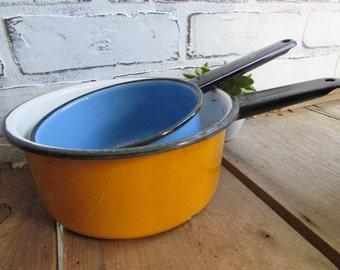 Vintage Enamel Saucepans Blue and Lemon Yellow Pots