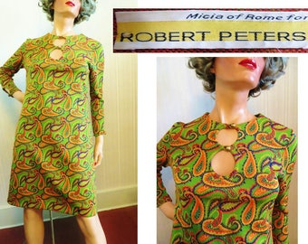 Vintage 60s 70s Mod Dress, Micia of Rome for Robert Peters, Green Paisley,Long Sleeves, Polyester Dress, Carnaby Street, Psychedelic