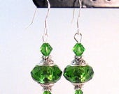 CUSTOM ORDER for LISAZ - Green Swarovski Crystal & Antique Silver Earrings, Green Jewelry, Christmas Jewelry, Womens Fashion