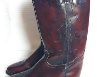 CLEARANCE Ox Blood Red Leather Cowboy Boots - Vintage Leather Boots - Campos - US 5.5, UK 3.5, Eu 36