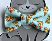 Pizza Bow Tie for Cat or Dog, Pet Clothing, Slide on Collar Accessory, Pet Bowtie, Handmade in Canada, Food, Cheese and Pepperoni Slice