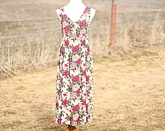 80s Vintage Sleeveless Floral Dress / Womens Retro Flowy Rayon Summer Midi Dresses Size  Small