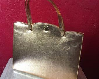Kurt Chambre Vintage Purse ~ Huge 1950s/1960s Gold Handbag