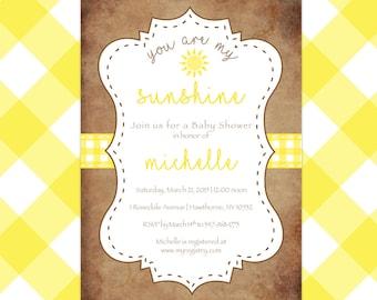 You are my Sunshine Baby Shower Invitation, Customizable
