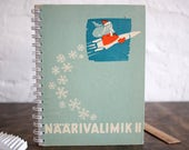 "DOTTED Spiral Bound Notebook Tartuensis College ""Santa's rocket"". Handmade from Discarded Book Covers"