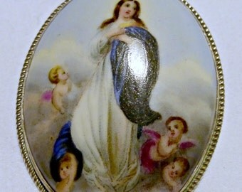 Vintage Handpainted Renaissance Style Miniature Porcelain Brooch Pendant Of Madonna With Cherub Angels In Clouds Framed In Silver