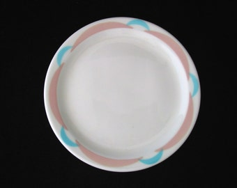 11 Shenango China RimRol WelRoc Crescent Bread Plates with Turquoise and Pink Vintage 1968 Restaurant Ware