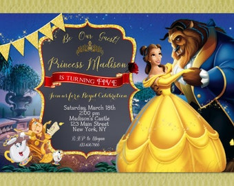 Beauty and the Beast Birthday Invitation - Princess Belle Party Invitation - Beauty and the Beast Invitations - DIY Printables