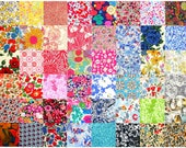 """Liberty of London 48 Mini 2.5"""" Charm Square Pack Patchwork Quilting Deep Dark Bright Bold Colours + Grey Cotton Tana Lawn Fabric"""
