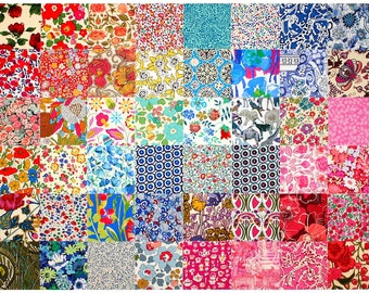 """SALE 15% off Liberty Fabric 48 Mini Charm Squares 2.5"""" Bundle Patchwork Quilting Floral Bright Rainbow Colours Liberty of London Tana Lawn"""
