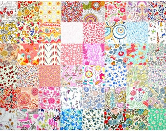 """Liberty Fabric 48 Mini 2.5"""" Charm Pack Squares Patchwork Quilting Floral muted pastel pale light and low volume Liberty London Tana Lawn"""
