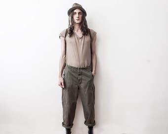Vintage Army Pants 70s Cargo military Trousers Jeans Spring Cotton Khaki Pants