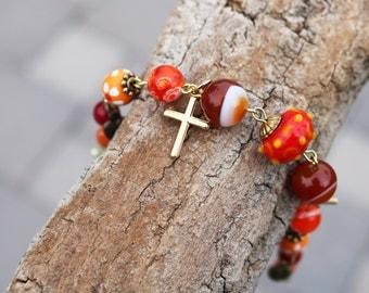 Christian Bracelet--One of a Kind--Trending--Contemporary Inspirational Jewelry--Cross--Faith--Hope--Boho--Bohemian--Hippie Style--Handmade