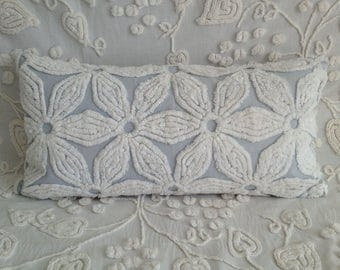 Vintage Chenille Pillow Cover Hofmann Gray Daisy