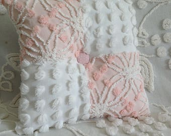 Pillow Vintage Chenille in Cabin Crafts Pink Wedding Ring and Fluffy White Handmade Pops...12 x 12""