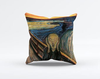 Scream Painting Pillow Cover 15 x 15 inch, Artistic cushion cover, Edvard Munch Decorative Pillow Cover, Home decor