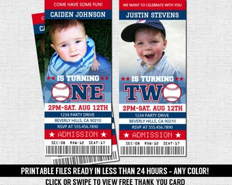 BASEBALL TICKET INVITATIONS First Birthday Party One Two All-Star Sports  - Any Color - Personalized Printable Files + Free Thank You Card