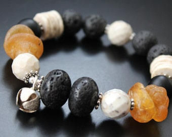 SALE Originally 44.00 Now 35.00 - Lava rock and amber bracelet, matte onyx bracelet, silver bell tribal bracelet, boho statement bracelet