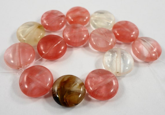 """Tourmaline Quartz Beads 13mm Coin Shaped Beads, Watermelon Quartz Stone Beads, Multi Color Gemstone Beads on a 7 1/4"""" Strand with 14 Beads"""