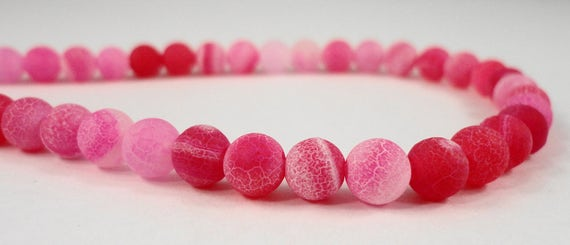 """14"""" Strand Agate Gemstone Beads 6mm Round Agate Beads, Dyed Fuchsia Pink Frosted Agate Stone Beads on a Full 14 Inch Strand with 64 Beads"""