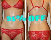 Red lace embellished with  rhinestones garter hooks see through sexy lingerie by Maria Luck