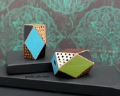 Hand Painted Faceted Wood Tube Focal Bead - Brass Turquoise Green Black Brown - Bohemian Cord Focal Bead - 22x13mm - Pkg. 2