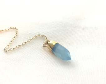 Blue onyx Y necklace