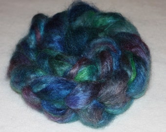 Fine Quality Mohair Roving with 10% Wool Top Peacock 3.85