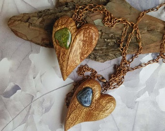 Wooden heart pendant, Mahogany heart, Wooden pendant with gemstone, Unique handmade wooden jewelry, Heart pendant