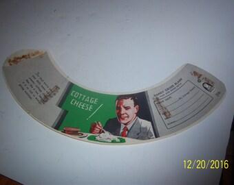 1940-50's Man Eating Cottage Cheese Milk Bottle Shoulder Order Sleeve Dairy Cow Paper  Ephemera
