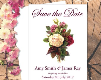 Save the Date Vintage Roses Card
