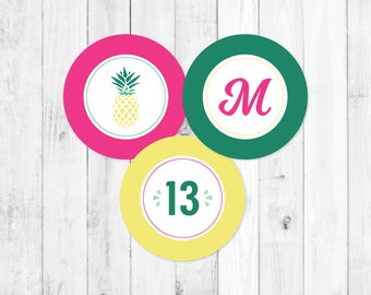Girls Pineapple Party, DIY Kids Birthday Party Kit, Pineapple Theme Party, Pineapple Cupcake Toppers, Summer Tropical Party, Party Favors